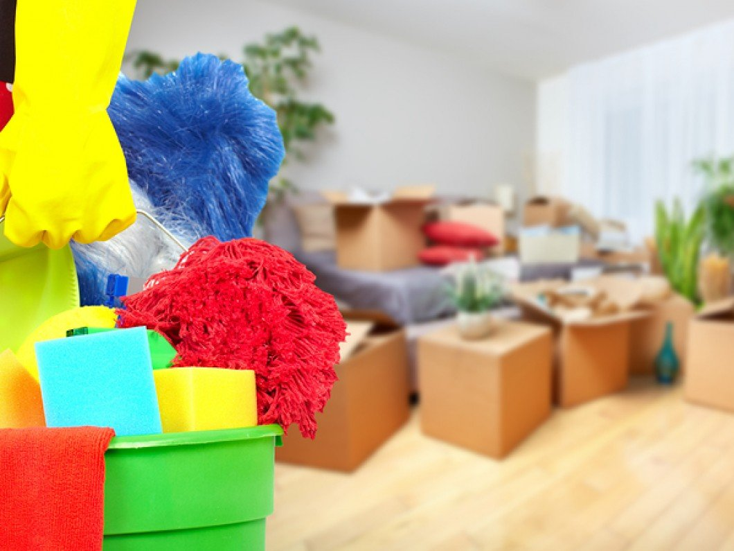 Move In & Move Out Services Maid hands with cleaning tools
